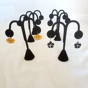 Earring stands black velvet hoop trees